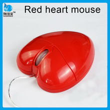 cute gift wired mouse__red heart mouse wireless with CE FCC certification