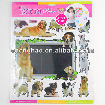 Animal dog adhesive room decoration aluminized wall decor mirror sticker