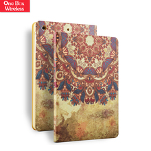 Silk Print Leather Case For Ipad Mini 2 Magnetic Buckle Leather Phonecase