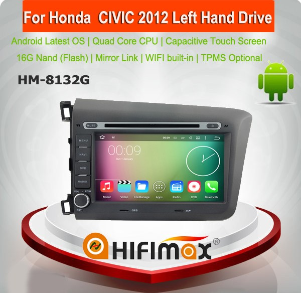 HIFIMAX 8'' Android 5.1.1 touch screen car dvd gps for honda civic car radio gps for honda civic 2012 for civic fn2 ek eg rr