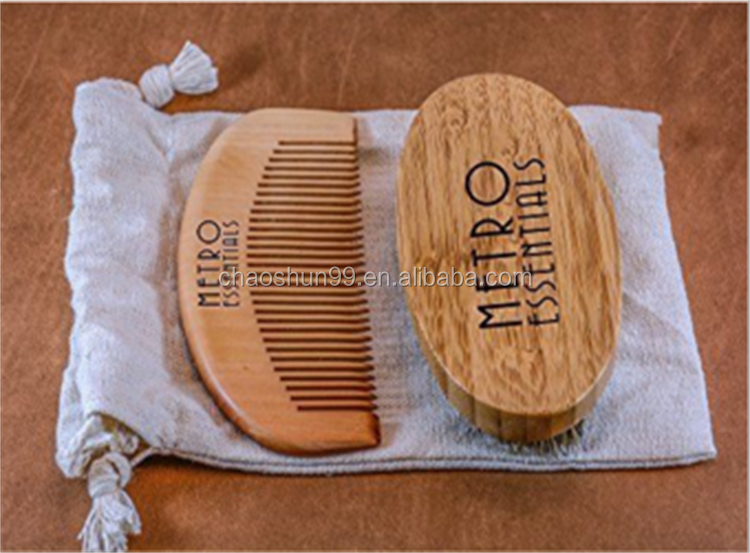 Hot Selling Wooden Beard Brush And Comb Set For Men Use
