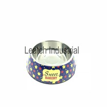 Little stars pattern stainless steel& melamine pet dog food bowls pet bowl