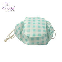 New design convenient circular drawstring cosmetic bag foldable toiletry bag
