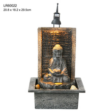 Home decoration indoor buddha water fountain with light