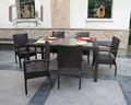 New brown rattan furniture 4 seater dining table set with cushion garden chairs