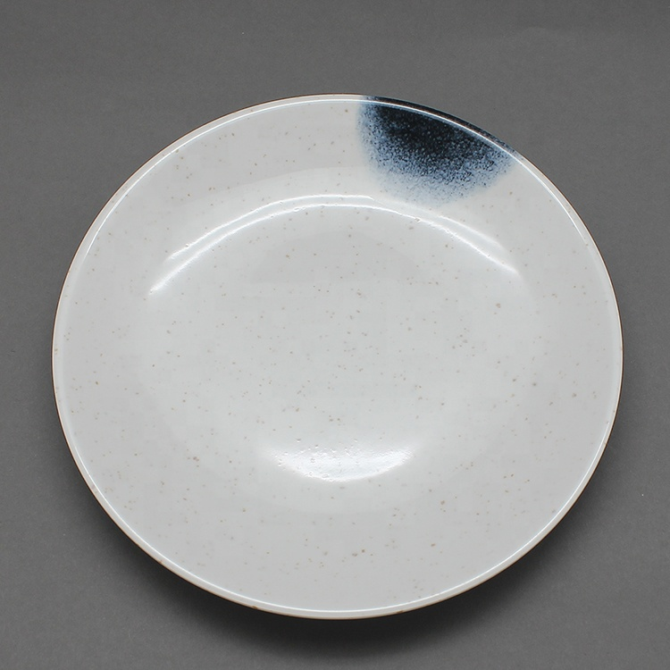 7 Inch Healthy Melamine Salad Plate Unbreakable White Speckled with Blue Print