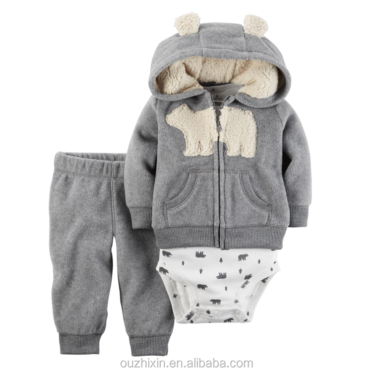 2017 new soft warm 3 pack children winter clothing