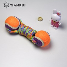 Pet puppy products training tennis ball rope dog toy chew dog toy