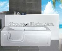 Chinese hot white rectangle acrylic handicapped discount walk in soaking baths, freestanding bathtub