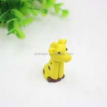 Lovely giraffe shape eraser cartoon animal school rubber eraser yellow rubber eraser