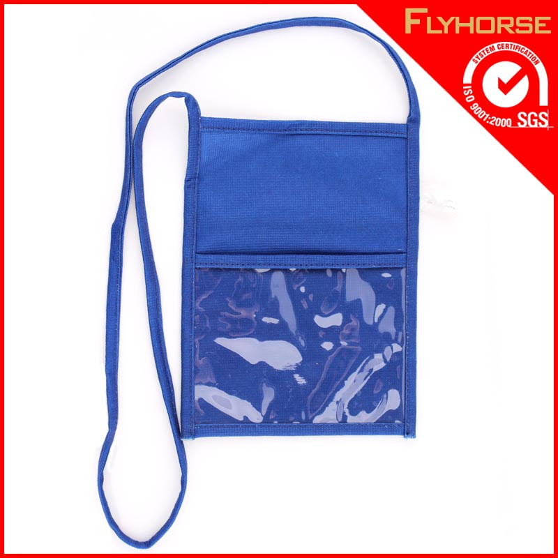 polyester moible bag with clear pvc pouch