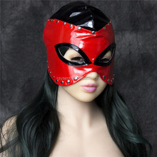 Red Adult Games Zipper Mouth Latex Faux Leather Sex Mask Sexy Fetish Bondage Mask Hood With Lock Sex Toys For Couples