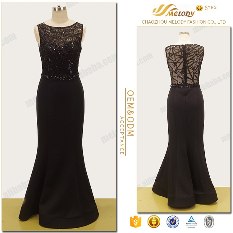 Black beaded pailltte sequins sleeveless textile bodycon night women fashion evening dress