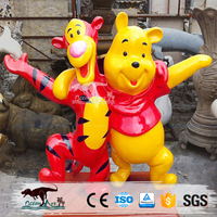 Artificial fiberglass statue cartoon bear resin model amusement park equipment for display