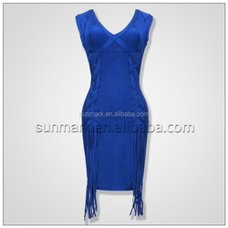 2016 New Arrival Rayon Knitted Sexy Blue Bandage Dress Party Dress