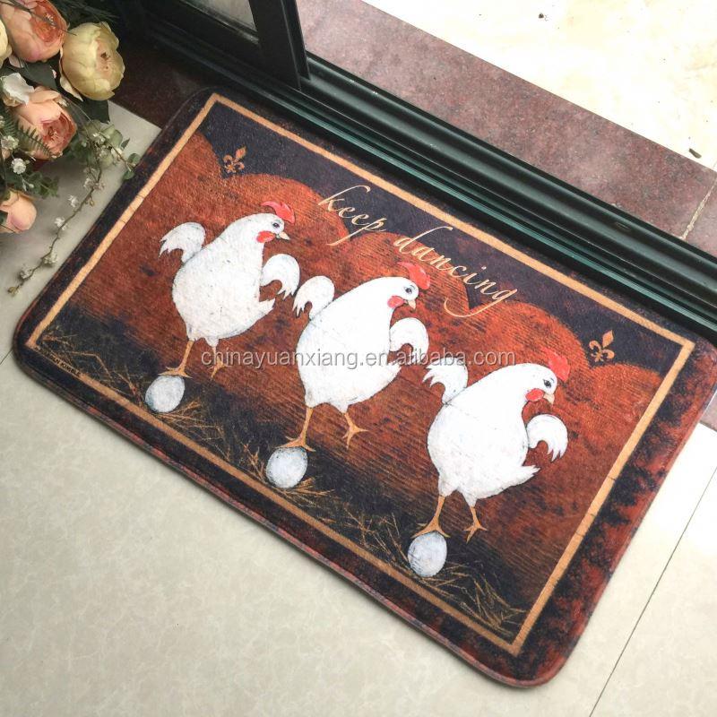 Cock Rooster Keep Dancing Foam Padded Floor Mat