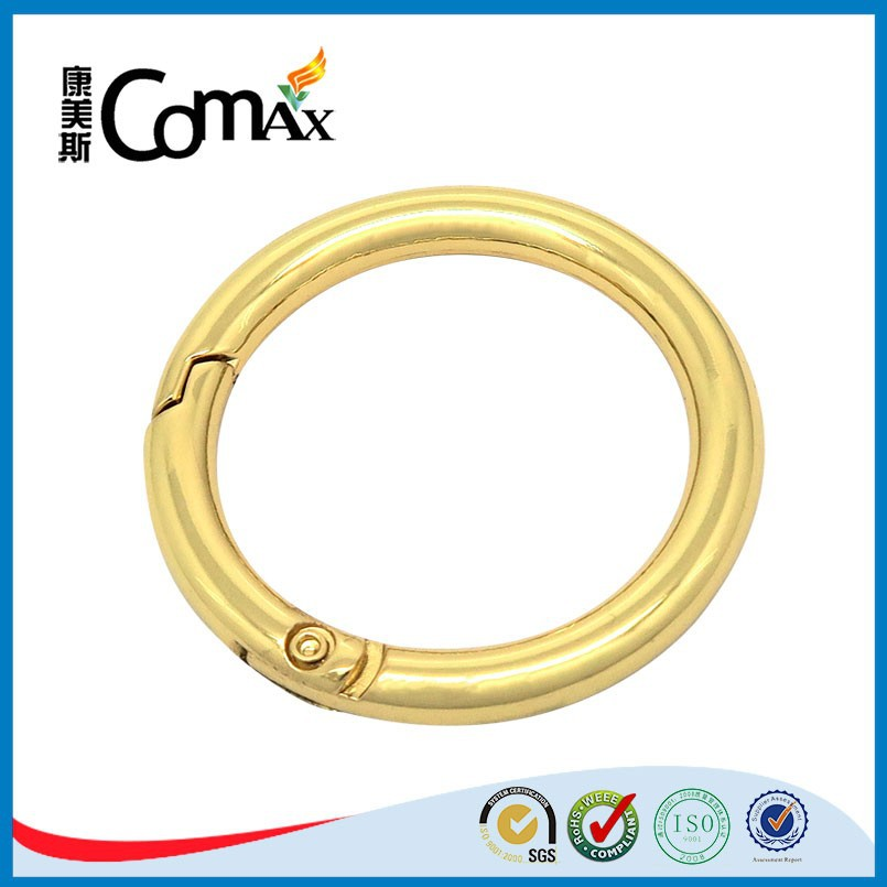 Metal Accessories For Handbag Circle Gold Metal Spring Buckle