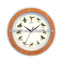 round plastic bird sound wall clock wtih 12 music hourly