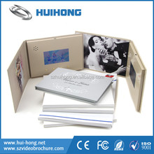 Hard cover custom design lcd digital video player wedding invitation greeting card