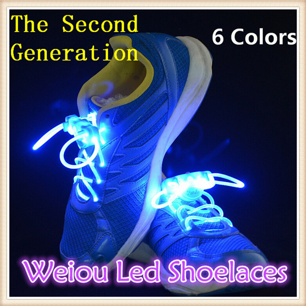 Weiou hot sale glowing led shoe lace The 2nd Generation Worldwide colorful led flashing bootlaces glitter shoe strings