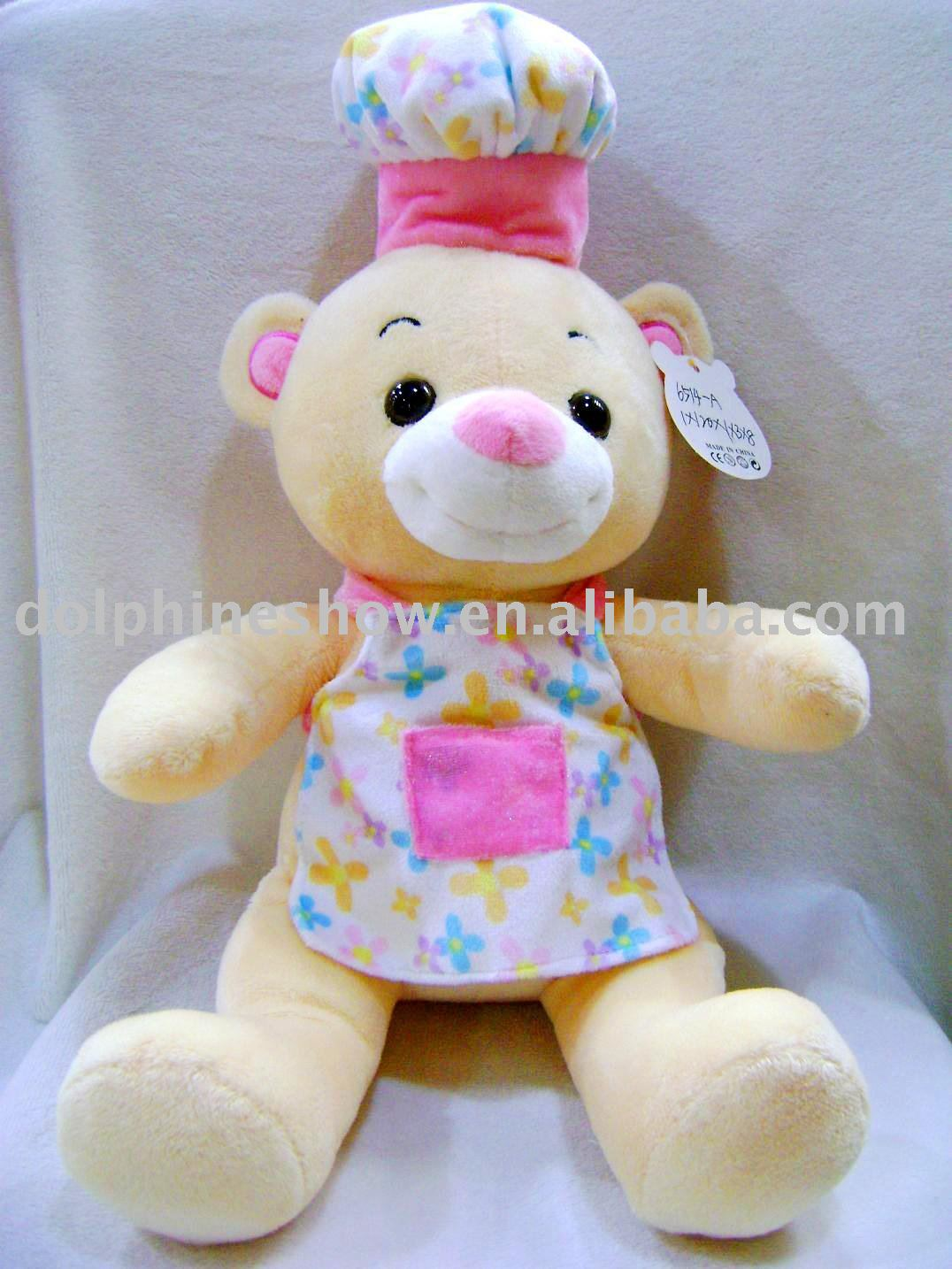 Promotional gift plush stuffed teddy bear custom logo with chef hat and apron