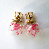 Latest Light pink Natural Dry Flower filled murano women Stud Earrings