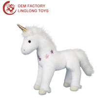 Cartoon Standing Unicorn Pony Toy With Horn White Stuffed Horse Doll Wih Flower Pattern Plush Unicorn Toy For Kids