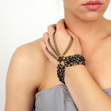 Godbead chunky multi chain bracelet with detachable hand jewelry // GAUNTLET aka the brass knuckles