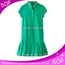 Fashion green short sleeve kids dance pleated dress sport dresses for girls