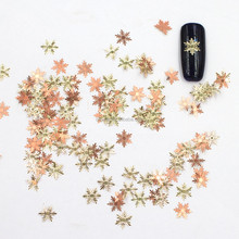 3D Snowflake Nails Art Decorations DIY Gold Alloy Charms Manicure Slice Fashion Nail Accessories