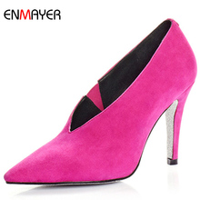 2016 famous designer new brand sexy pointed toe kid suede classsy high heels dress shoes