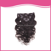 Dark brown Malaysian body wave human hair nice quality clip in hair extension