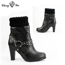New arrival girls women custom made high heel winter boots motorcycle