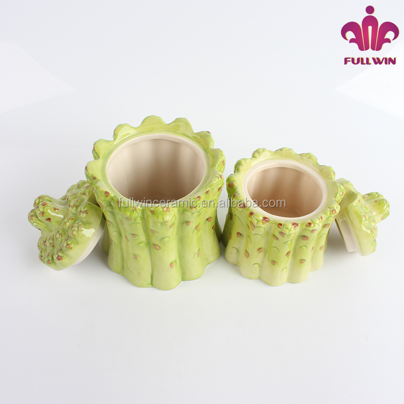 Factory price ceramicware ceramic canister with bamboo sprout design