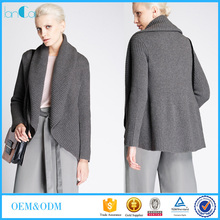 2016 Royal grey thick neck textured open frong warm cardigan for women