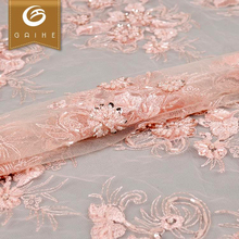 Alibaba supplier cheap price 3d heavy beaded lace fabric tulle