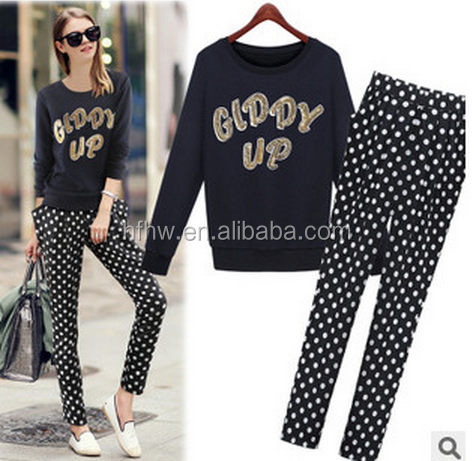 2014 Autumn new European small fragrant wind wave point long-sleeved sweater + harem pants big yards leisure suits