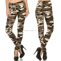 Elastic Waist Fur Lined Camouflage Printed Leggings Cotton Lycra Camouflage Leggings For Women