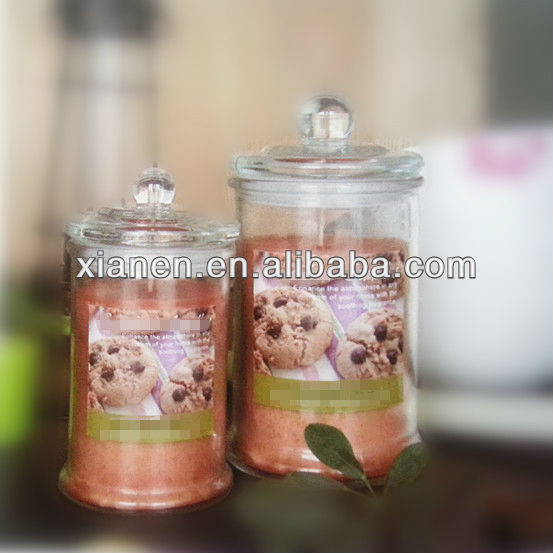 glass jar candle with glass lid fruit scent
