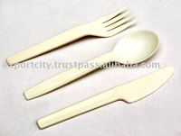 Bioplastic, biodegradable, disposable fork spoon knife cutlery