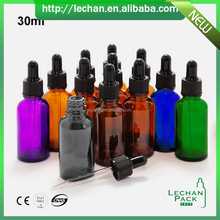 Wholesale high quality amber purple black green blue 1 oz 30ml glass dropper bottles with aluminum lid