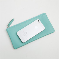 Women's Leather Long Wallet Purse Casual Ultra-Thin Zipper Bag Fashion Wallet with Polyester Lining