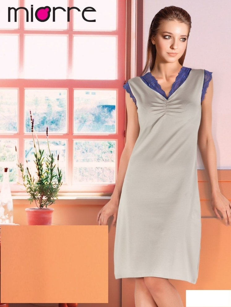 MIORRE COMBED COTTON FABRIC NIGHTGOWN WITH LACE
