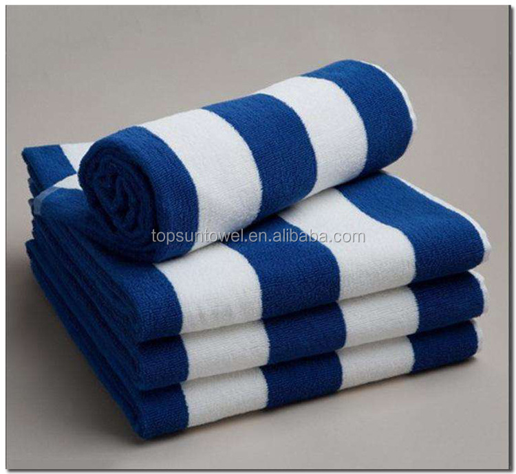 100% cotton yarn dyed swimming pool towel with blue white stripe