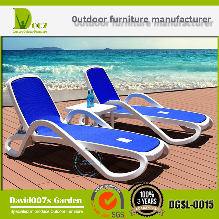 Outdoor furniture white plastic sun lounger for sale DGSL-0015
