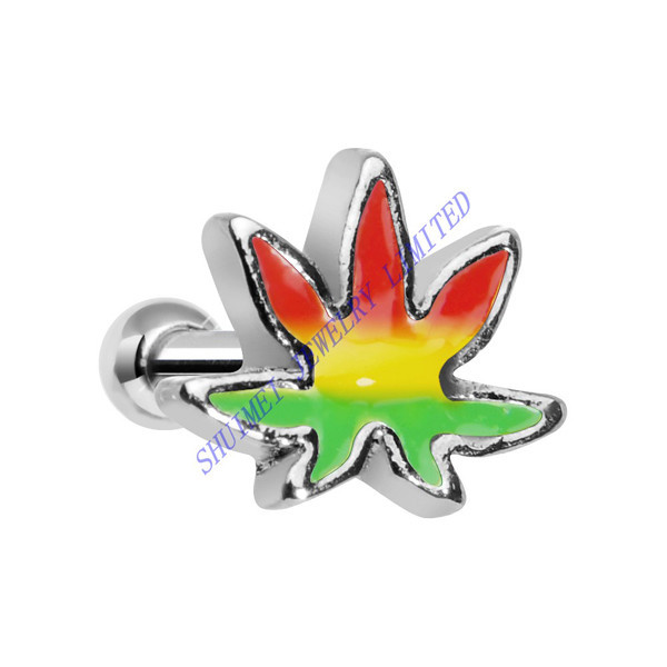 Rasta Flag Marijuana Pot Leaf Titanium Plated Ear Tragus Cuff Cartilage Helix Barbell Earring Stud 16G Piercing Body Jewelry
