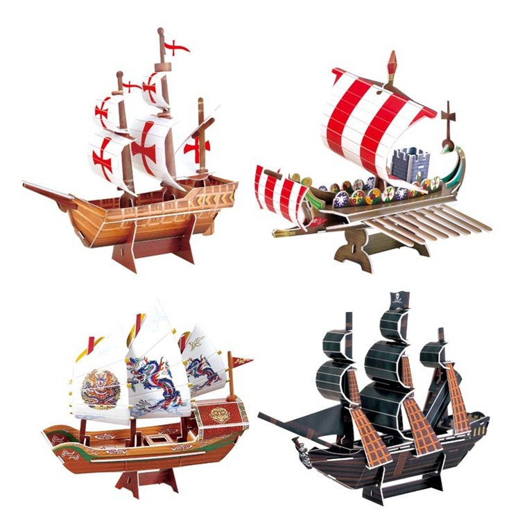 Home decoration living room paper toy 3D ship puzzle