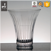 Big mouth home clear glass vase , decorated balcony and office table for Glass Vase