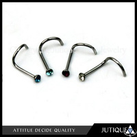 Nose Studs Rings\Colorful Stainless Steel Rhinestone Curved Nose Studs Rings Bars Piercing