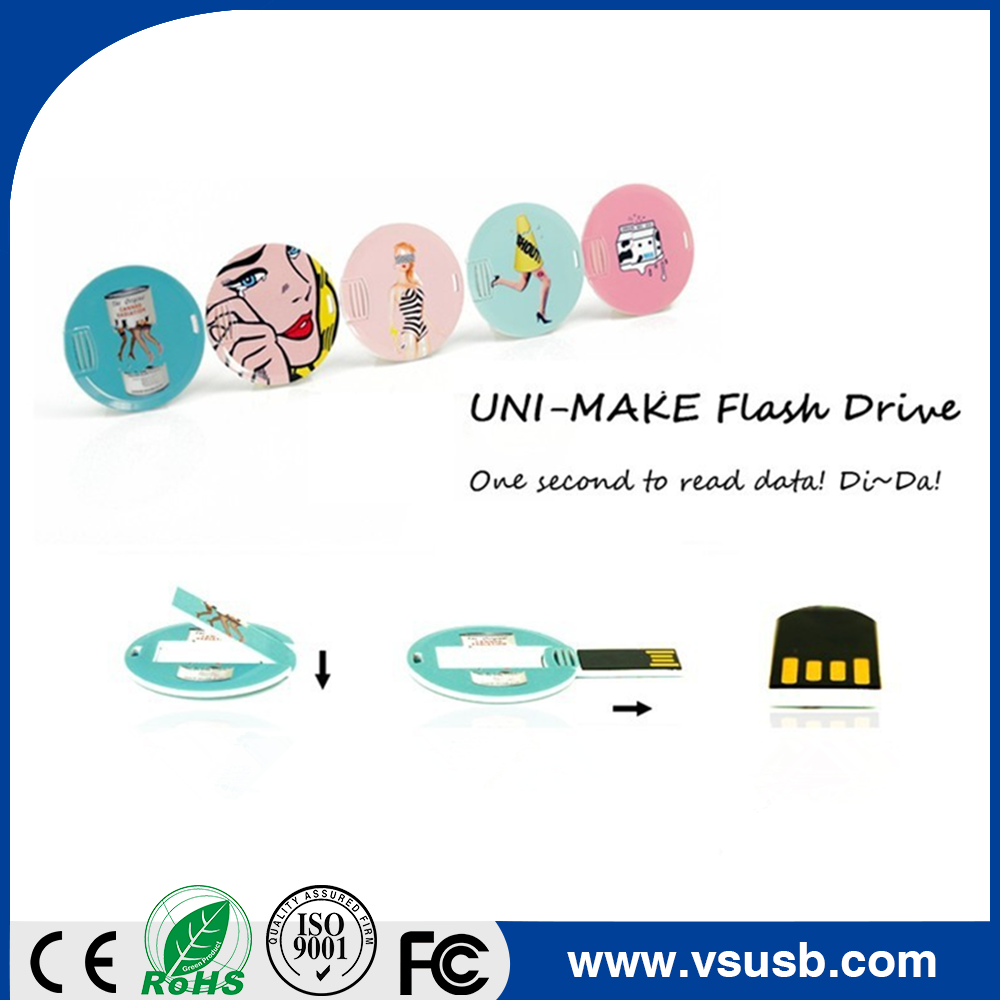 Customized Design Plastic round card USB 8gb memory stick for promotion